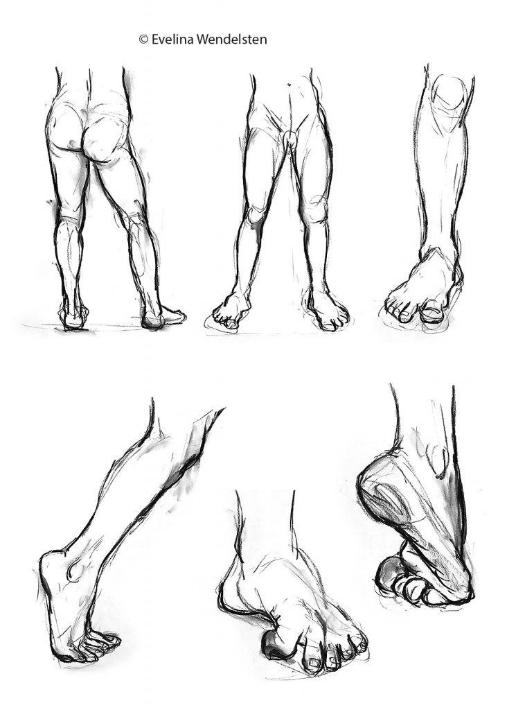Krokiteckningar ben-fötter. Life drawings with focus on legs and feet.